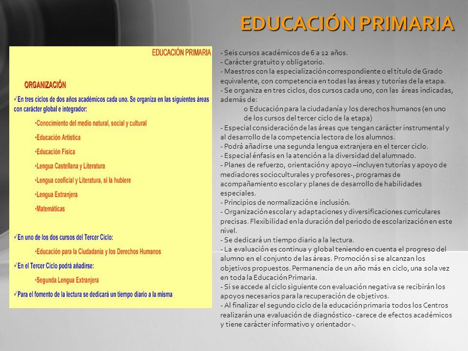 EDUCACIÓN PRIMARIA - Seis cursos académicos de 6 a 12 años. - Carácter gratuito y obligatorio. - Maestros con la especialización correspondiente o el