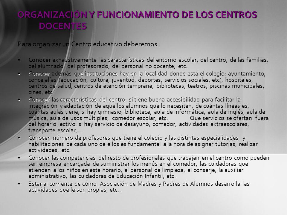 ORGANIZACIÓN Y FUNCIONAMIENTO DE LOS CENTROS DOCENTES Para organizar un Centro educativo deberemos : características del entorno escolarConocer exhaus