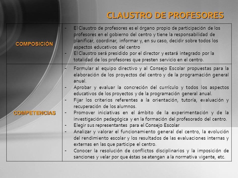 CLAUSTRO DE PROFESORES COMPOSICIÓN - El Claustro de profesores es el órgano propio de participación de los profesores en el gobierno del centro y tien