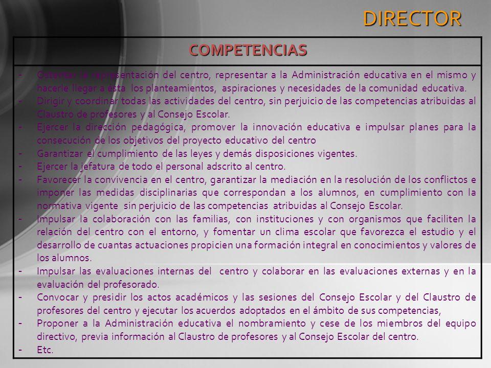DIRECTOR COMPETENCIAS - Ostentar la representación del centro, representar a la Administración educativa en el mismo y hacerle llegar a ésta los plant