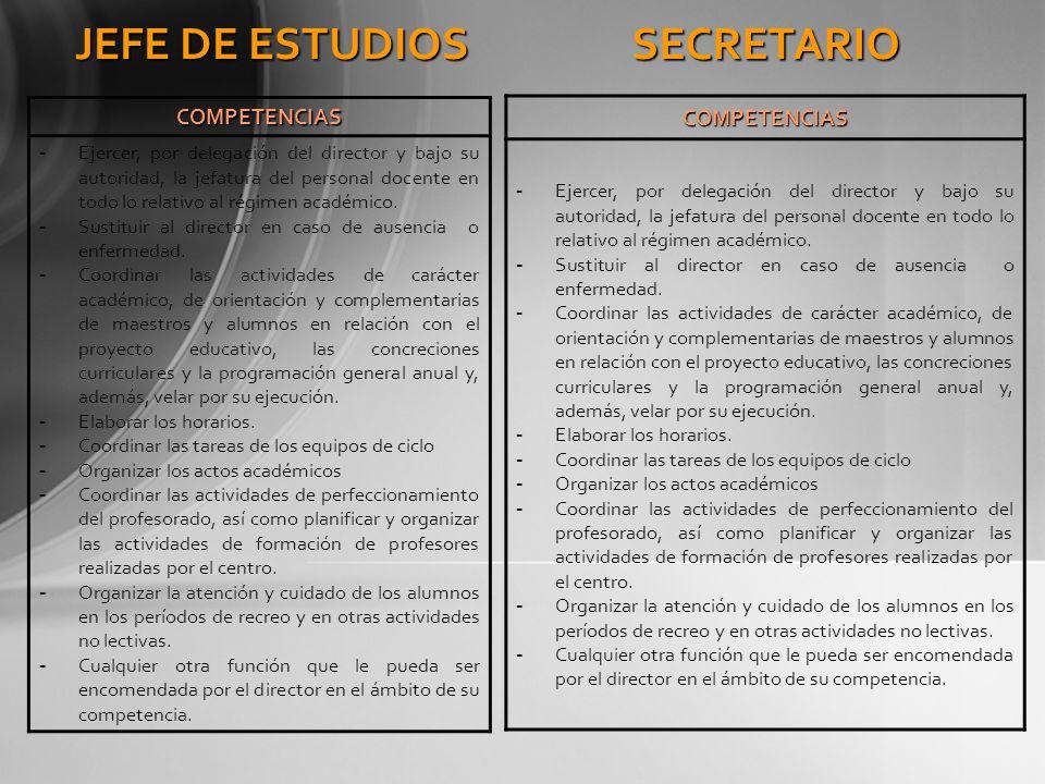 JEFE DE ESTUDIOS COMPETENCIAS - Ejercer, por delegación del director y bajo su autoridad, la jefatura del personal docente en todo lo relativo al régi