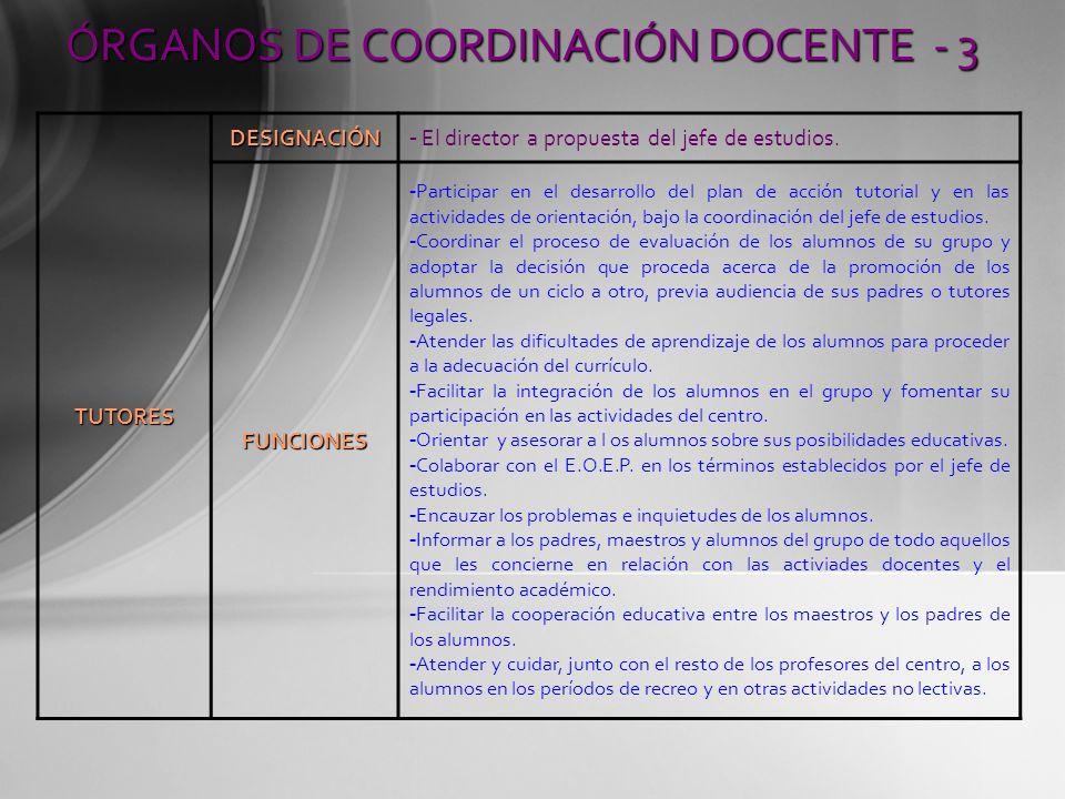 TUTORES DESIGNACIÓN - El director a propuesta del jefe de estudios. FUNCIONES - Participar en el desarrollo del plan de acción tutorial y en las activ