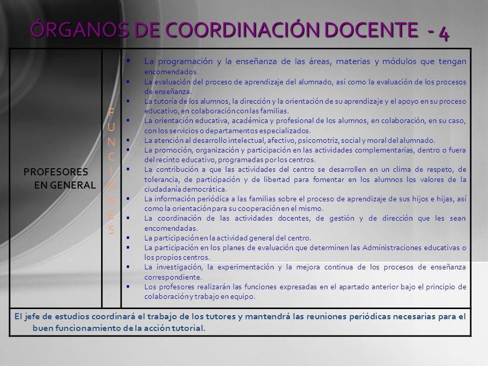 ÓRGANOS DE COORDINACIÓN DOCENTE - 4 PROFESORES EN GENERAL FUNCIONESFUNCIONES La programación y la enseñanza de las áreas, materias y módulos que tenga