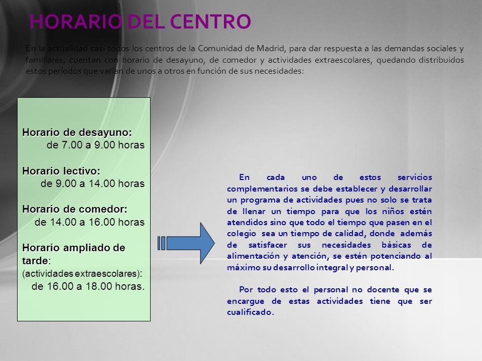 HORARIO DEL CENTRO Horario de desayuno: de 7.00 a 9.00 horas Horario lectivo: de 9.00 a 14.00 horas Horario de comedor: de 14.00 a 16.00 horas Horario