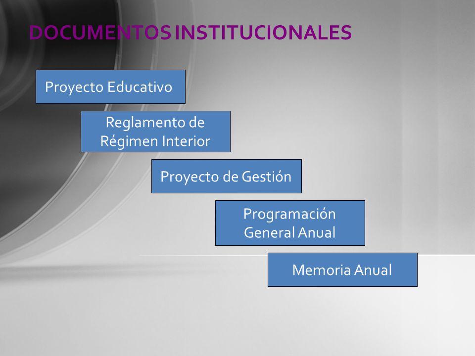 DOCUMENTOS INSTITUCIONALES Proyecto Educativo Reglamento de Régimen Interior Proyecto de Gestión Memoria Anual Programación General Anual