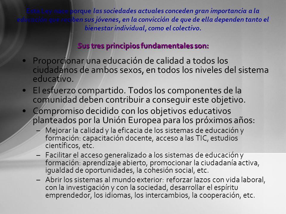 Sus tres principios fundamentales son: Esta Ley nace porque las sociedades actuales conceden gran importancia a la educación que reciben sus jóvenes,