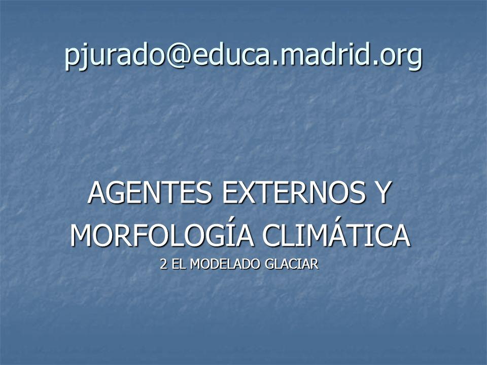 AGENTES EXTERNOS Y MORFOLOGÍA CLIMÁTICA Sistema morfoclimático glaciar El modelado en el dominio glaciar es típico de las zonas frías (latitud o altura).