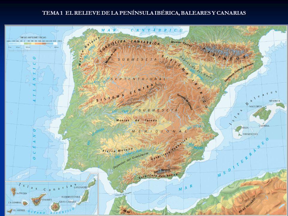 TEMA 1 EL RELIEVE DE LA PENÍNSULA IBÉRICA, BALEARES Y CANARIAS