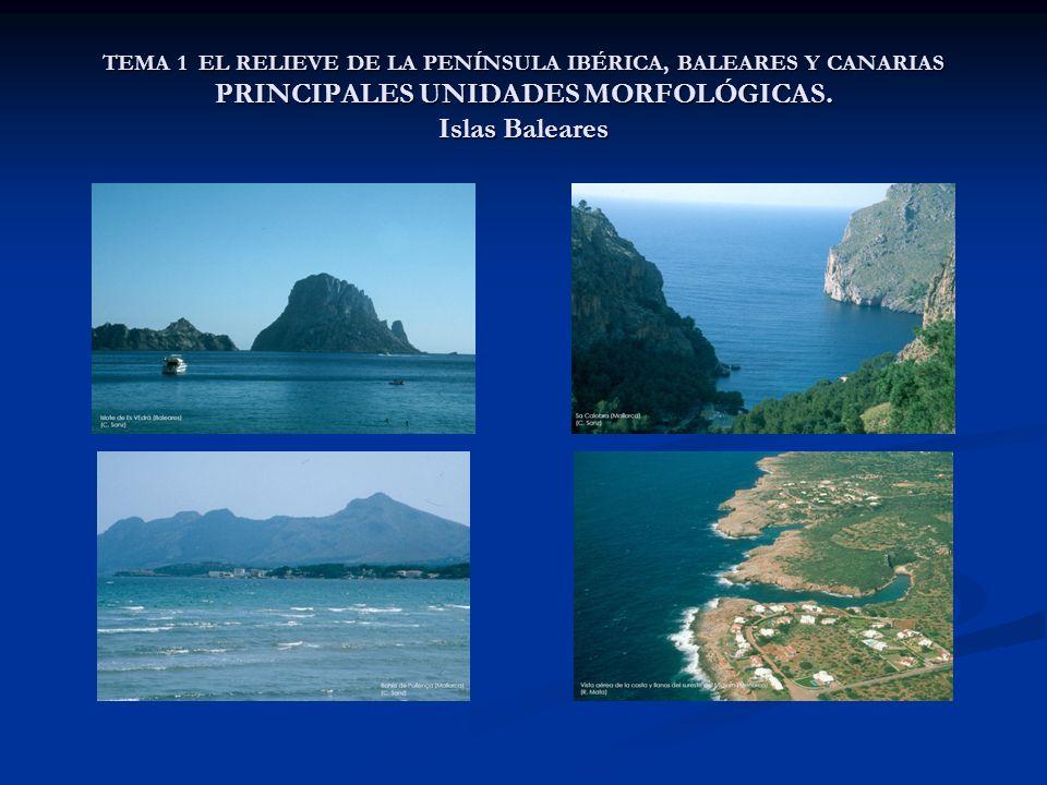 TEMA 1 EL RELIEVE DE LA PENÍNSULA IBÉRICA, BALEARES Y CANARIAS PRINCIPALES UNIDADES MORFOLÓGICAS. Islas Baleares