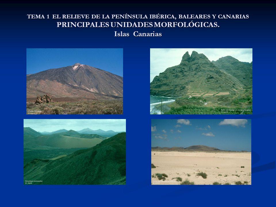 TEMA 1 EL RELIEVE DE LA PENÍNSULA IBÉRICA, BALEARES Y CANARIAS PRINCIPALES UNIDADES MORFOLÓGICAS. Islas Canarias