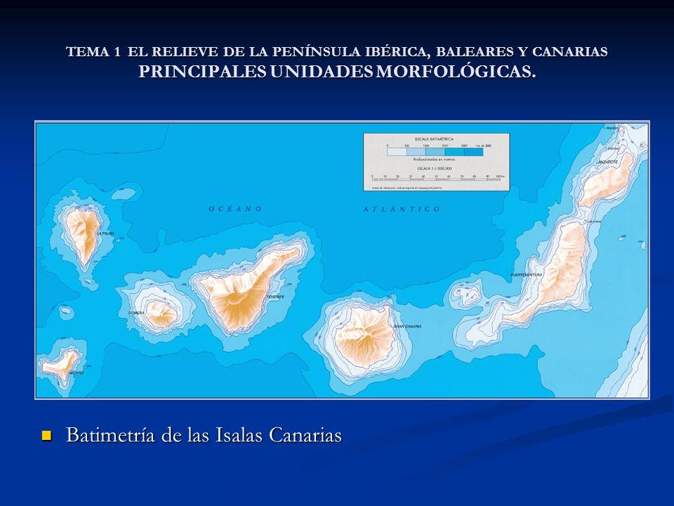TEMA 1 EL RELIEVE DE LA PENÍNSULA IBÉRICA, BALEARES Y CANARIAS PRINCIPALES UNIDADES MORFOLÓGICAS. Batimetría de las Isalas Canarias