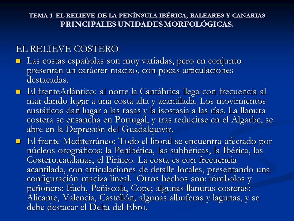 TEMA 1 EL RELIEVE DE LA PENÍNSULA IBÉRICA, BALEARES Y CANARIAS PRINCIPALES UNIDADES MORFOLÓGICAS. EL RELIEVE COSTERO Las costas españolas son muy vari