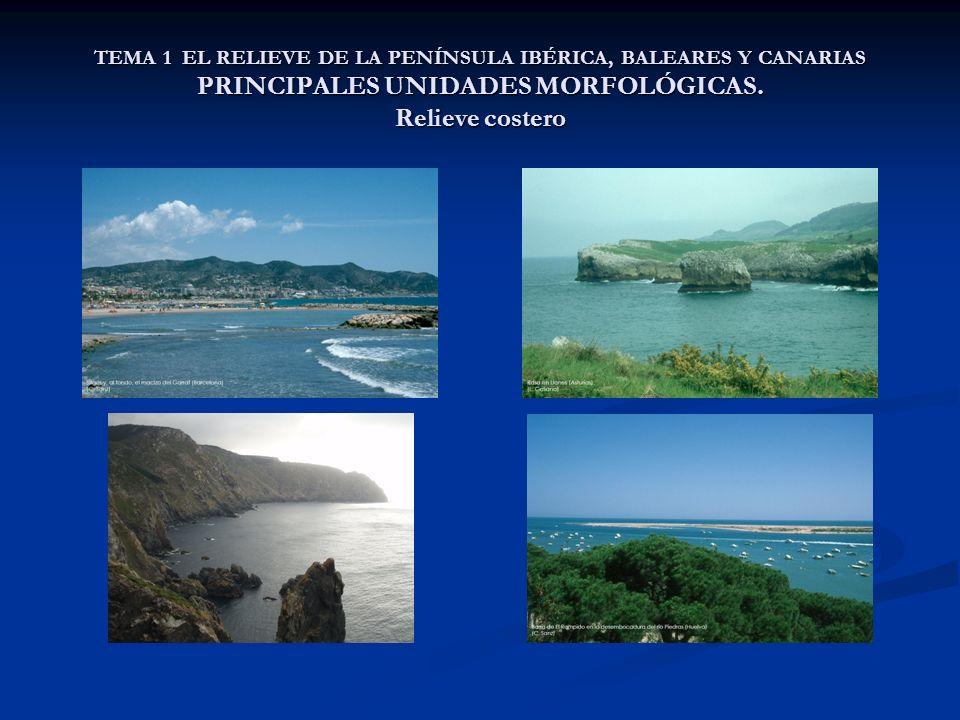 TEMA 1 EL RELIEVE DE LA PENÍNSULA IBÉRICA, BALEARES Y CANARIAS PRINCIPALES UNIDADES MORFOLÓGICAS. Relieve costero