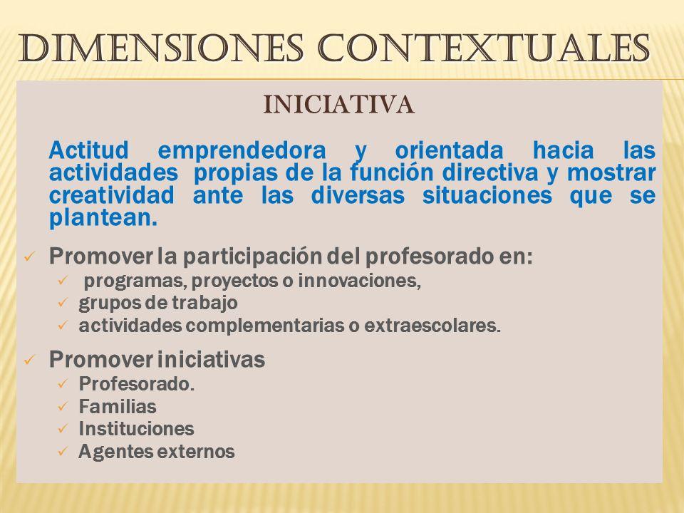 DIMENSIONES CONTEXTUALES INICIATIVA Actitud emprendedora y orientada hacia las actividades propias de la función directiva y mostrar creatividad ante