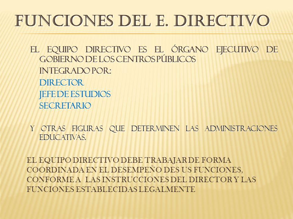 FUNCIONES DEL E. DIRECTIVO El equipo directivo es el órgano ejecutivo de gobierno de los centros públicos integrado por: director Jefe de estudios sec