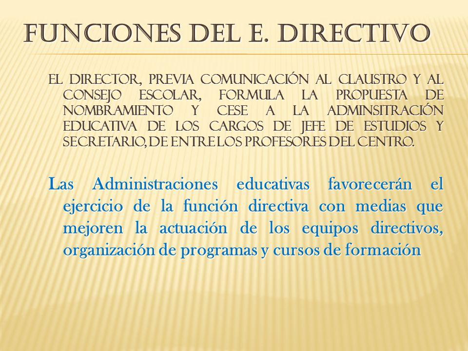 El DIRECTOR, PREVIA COMUNICACIÓN AL CLAUSTRO Y AL CONSEJO ESCOLAR, FORMULA LA PROPUESTA DE NOMBRAMIENTO Y CESE A LA ADMINSITRACIÓN EDUCATIVA DE LOS CA