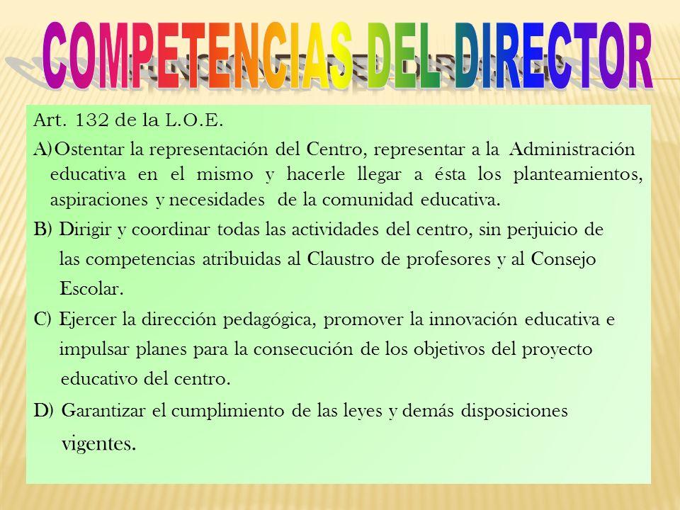 Art. 132 de la L.O.E. A)Ostentar la representación del Centro, representar a la Administración educativa en el mismo y hacerle llegar a ésta los plant