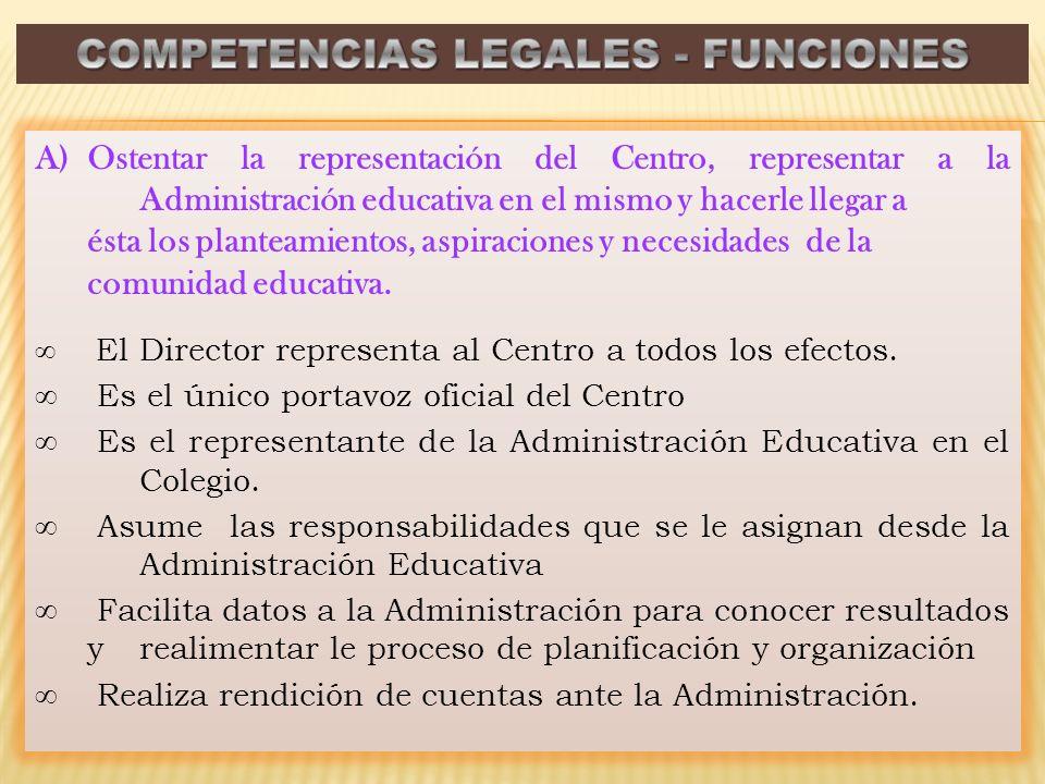 A)Ostentar la representación del Centro, representar a la Administración educativa en el mismo y hacerle llegar a ésta los planteamientos, aspiracione