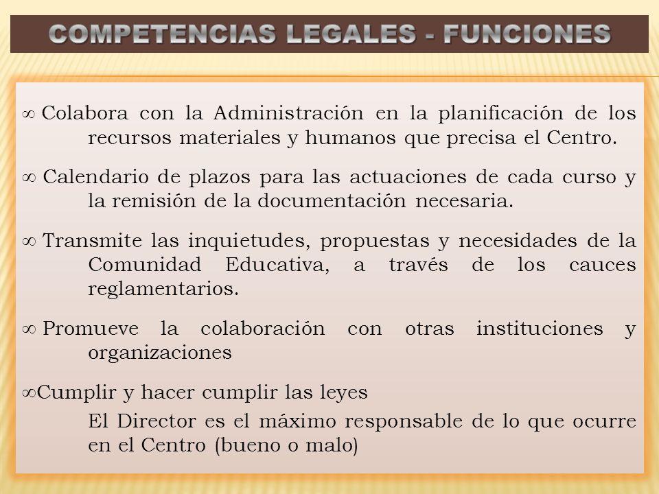 Colabora con la Administración en la planificación de los recursos materiales y humanos que precisa el Centro. Calendario de plazos para las actuacion