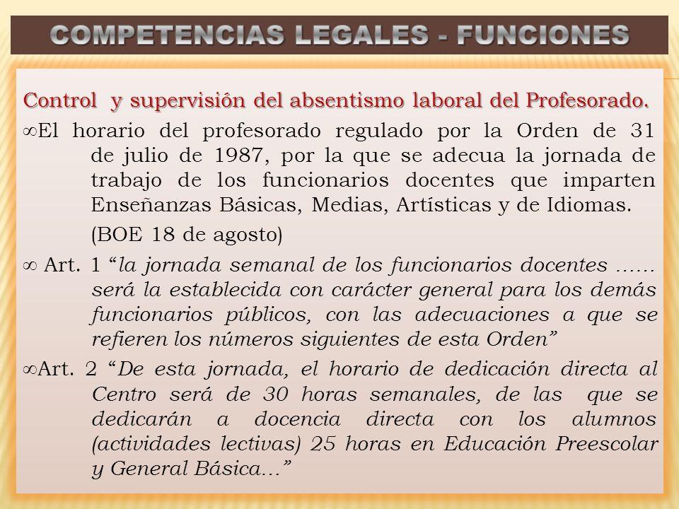 Control y supervisión del absentismo laboral del Profesorado. El horario del profesorado regulado por la Orden de 31 de julio de 1987, por la que se a