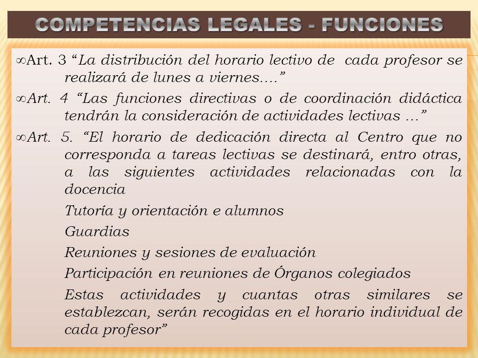 Art. 3 La distribución del horario lectivo de cada profesor se realizará de lunes a viernes…. Art. 4 Las funciones directivas o de coordinación didáct