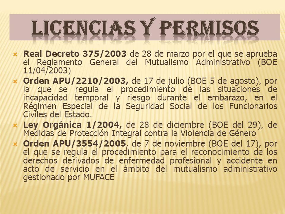Real Decreto 375/2003 de 28 de marzo por el que se aprueba el Reglamento General del Mutualismo Administrativo (BOE 11/04/2003) Orden APU/2210/2003, d