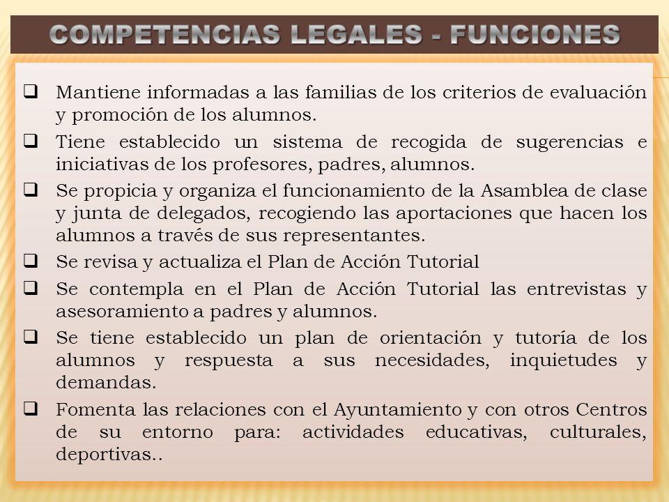 Mantiene informadas a las familias de los criterios de evaluación y promoción de los alumnos. Tiene establecido un sistema de recogida de sugerencias