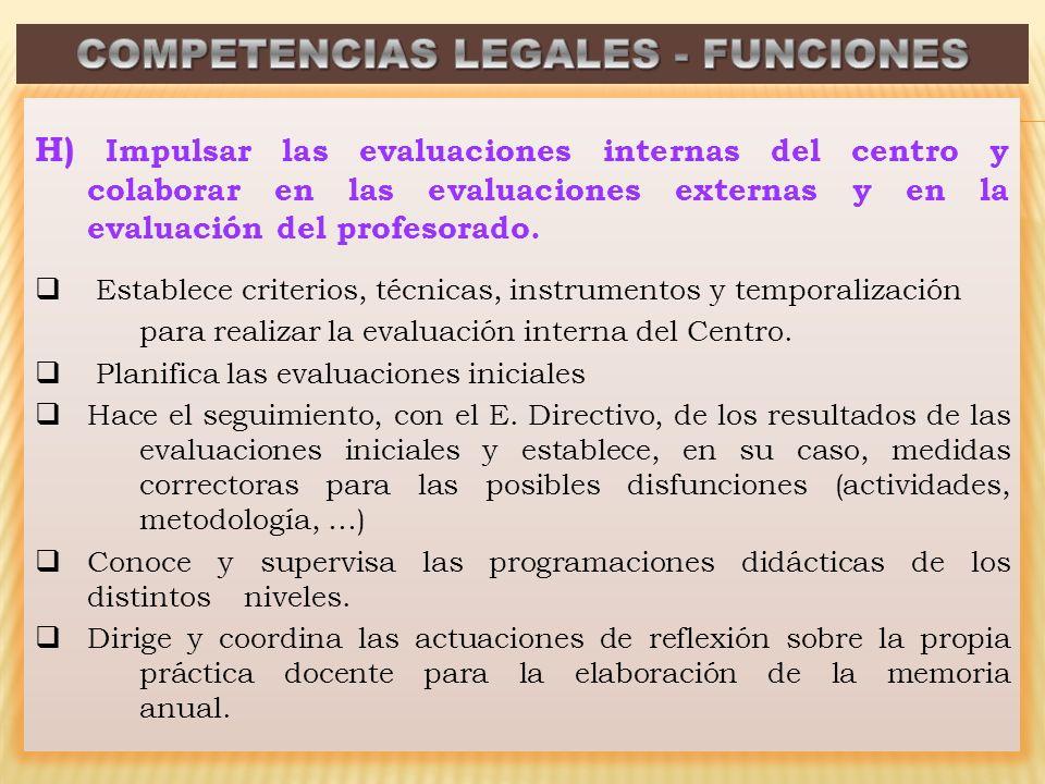 H) Impulsar las evaluaciones internas del centro y colaborar en las evaluaciones externas y en la evaluación del profesorado. Establece criterios, téc