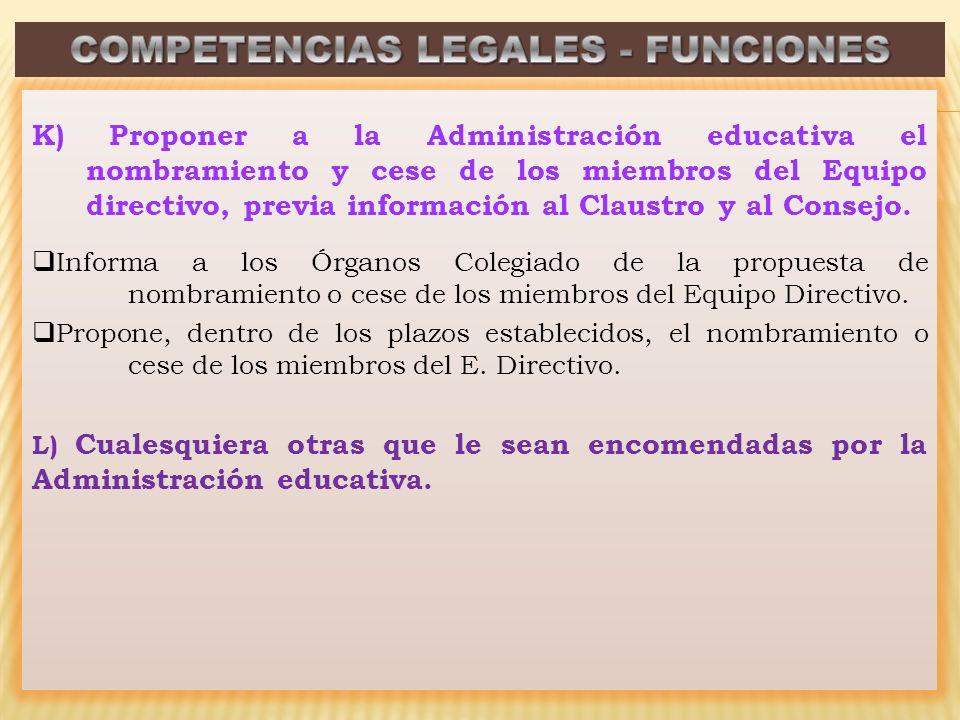 K) Proponer a la Administración educativa el nombramiento y cese de los miembros del Equipo directivo, previa información al Claustro y al Consejo. In