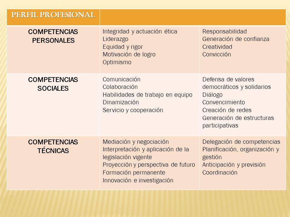 PERFIL PROFESIONAL COMPETENCIAS PERSONALES Integridad y actuación ética Liderazgo Equidad y rigor Motivación de logro Optimismo Responsabilidad Genera