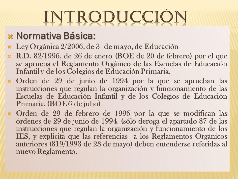 Normativa Básica: Normativa Básica: Ley Orgánica 2/2006, de 3 de mayo, de Educación R.D. 82/1996, de 26 de enero (BOE de 20 de febrero) por el que se