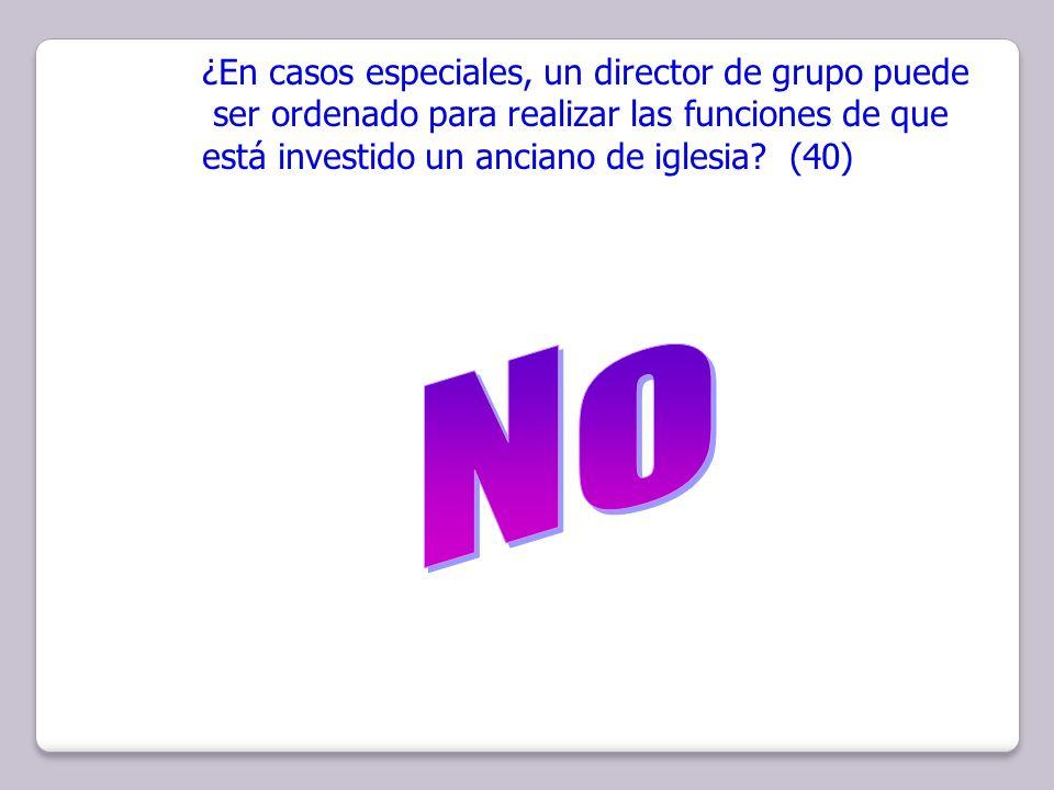 ¿En casos especiales, un director de grupo puede ser ordenado para realizar las funciones de que está investido un anciano de iglesia? (40)