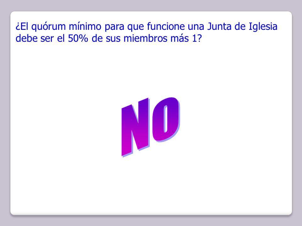 ¿El quórum mínimo para que funcione una Junta de Iglesia debe ser el 50% de sus miembros más 1?