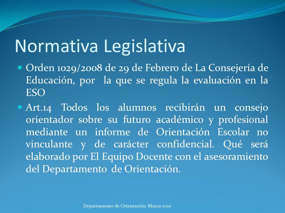 Sistema educativo Departamento de Orientación Marzo 2010
