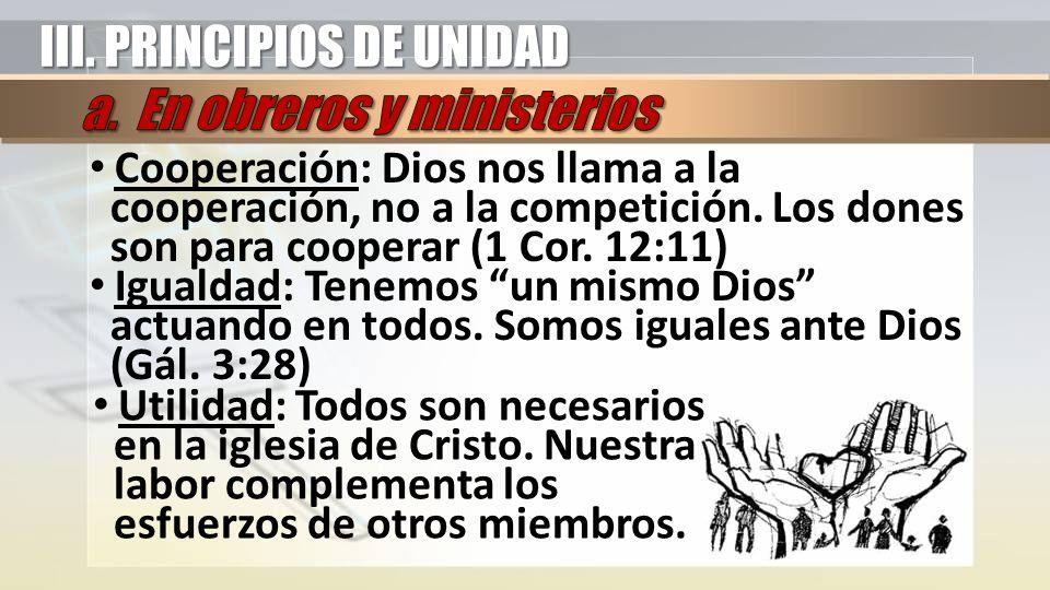 Cooperación: Dios nos llama a la cooperación, no a la competición. Los dones son para cooperar (1 Cor. 12:11) Igualdad: Tenemos un mismo Dios actuando