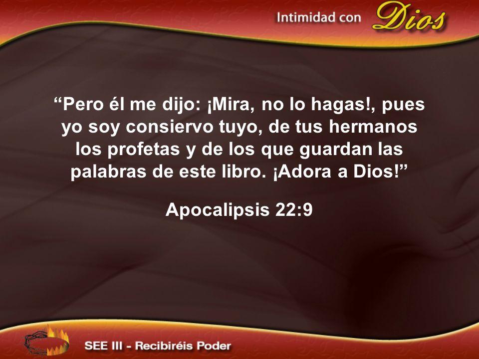 Pero él me dijo: ¡Mira, no lo hagas!, pues yo soy consiervo tuyo, de tus hermanos los profetas y de los que guardan las palabras de este libro. ¡Adora