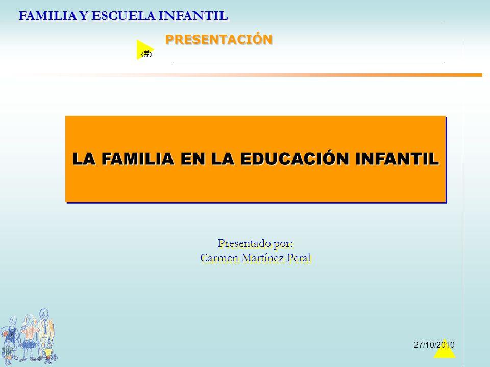 FAMILIA Y ESCUELA INFANTIL 1 27/10/2010 LA FAMILIA EN LA EDUCACIÓN INFANTIL Presentado por: Carmen Martínez Peral Presentado por: Carmen Martínez Pera