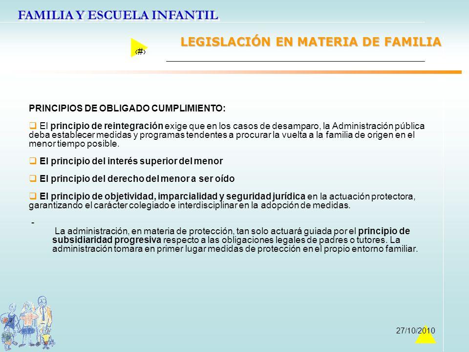 FAMILIA Y ESCUELA INFANTIL 12 27/10/2010 LEGISLACIÓN EN MATERIA DE FAMILIA PRINCIPIOS DE OBLIGADO CUMPLIMIENTO: El principio de reintegración exige qu