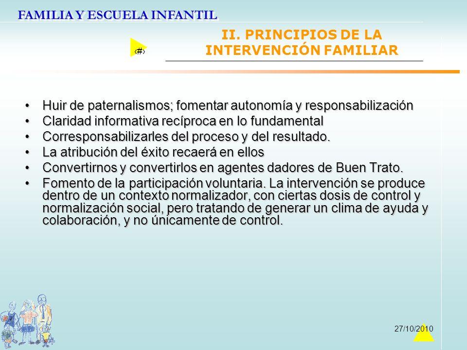 FAMILIA Y ESCUELA INFANTIL 18 27/10/2010 II. PRINCIPIOS DE LA INTERVENCIÓN FAMILIAR Huir de paternalismos; fomentar autonomía y responsabilizaciónHuir