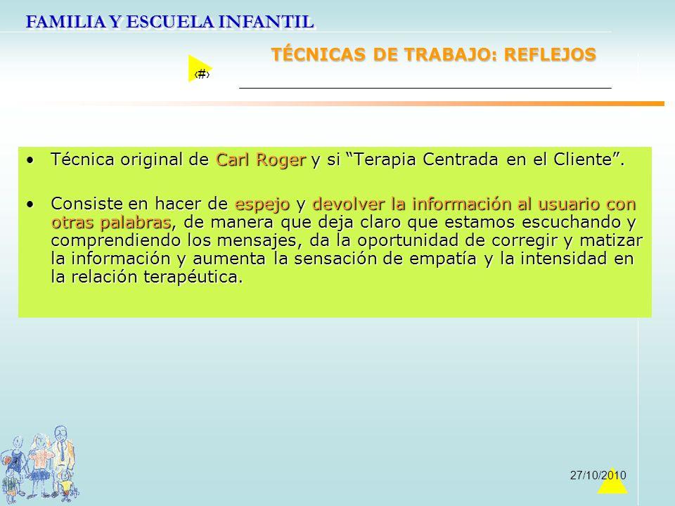 FAMILIA Y ESCUELA INFANTIL 26 27/10/2010 TÉCNICAS DE TRABAJO: REFLEJOS Técnica original de Carl Roger y si Terapia Centrada en el Cliente.Técnica orig