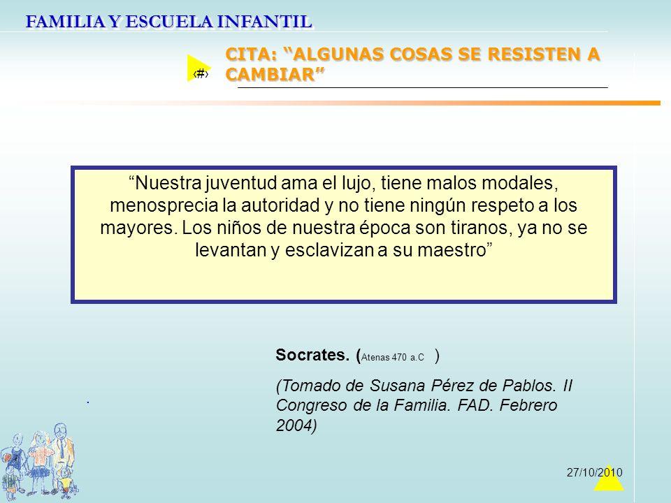 FAMILIA Y ESCUELA INFANTIL 3 27/10/2010. Nuestra juventud ama el lujo, tiene malos modales, menosprecia la autoridad y no tiene ningún respeto a los m