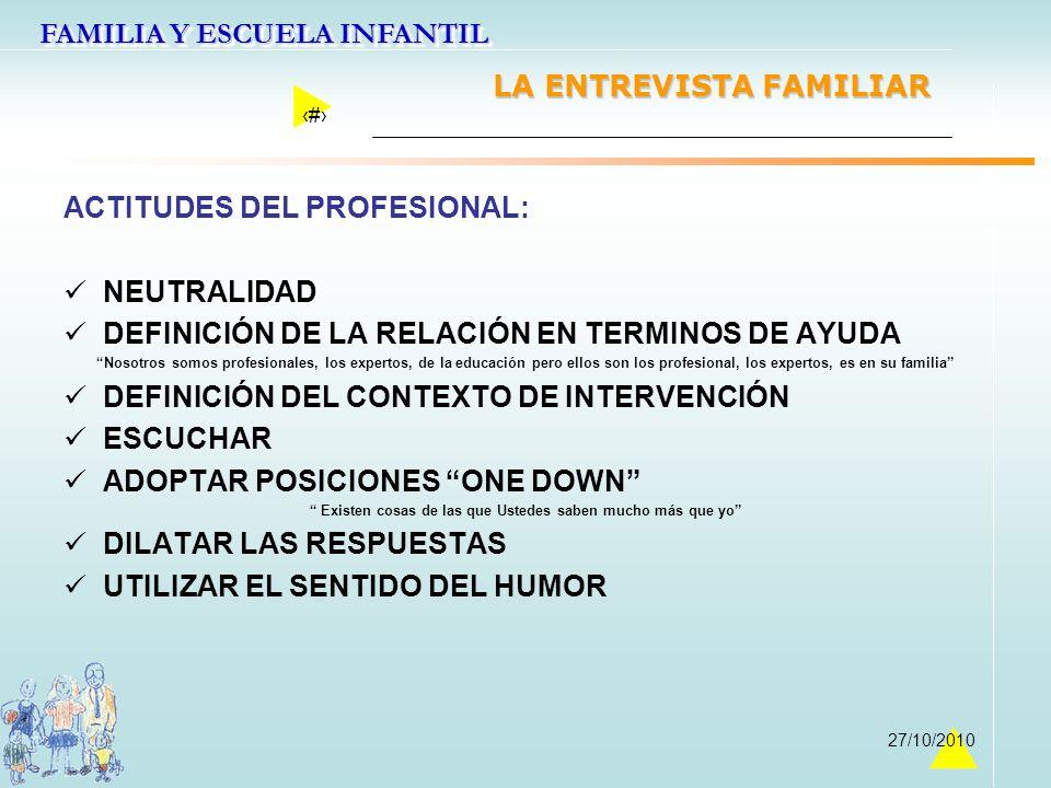 FAMILIA Y ESCUELA INFANTIL 33 27/10/2010 LA ENTREVISTA FAMILIAR ACTITUDES DEL PROFESIONAL: NEUTRALIDAD DEFINICIÓN DE LA RELACIÓN EN TERMINOS DE AYUDA