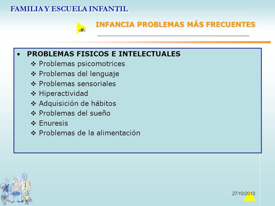 FAMILIA Y ESCUELA INFANTIL 36 27/10/2010 INFANCIA PROBLEMAS MÁS FRECUENTES PROBLEMAS FISICOS E INTELECTUALES Problemas psicomotrices Problemas del len