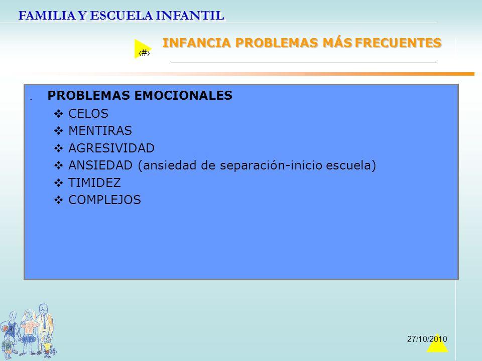 FAMILIA Y ESCUELA INFANTIL 37 27/10/2010. PROBLEMAS EMOCIONALES CELOS MENTIRAS AGRESIVIDAD ANSIEDAD (ansiedad de separación-inicio escuela) TIMIDEZ CO