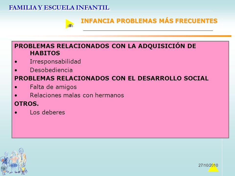 FAMILIA Y ESCUELA INFANTIL 38 27/10/2010 INFANCIA PROBLEMAS MÁS FRECUENTES PROBLEMAS RELACIONADOS CON LA ADQUISICIÓN DE HABITOS Irresponsabilidad Deso