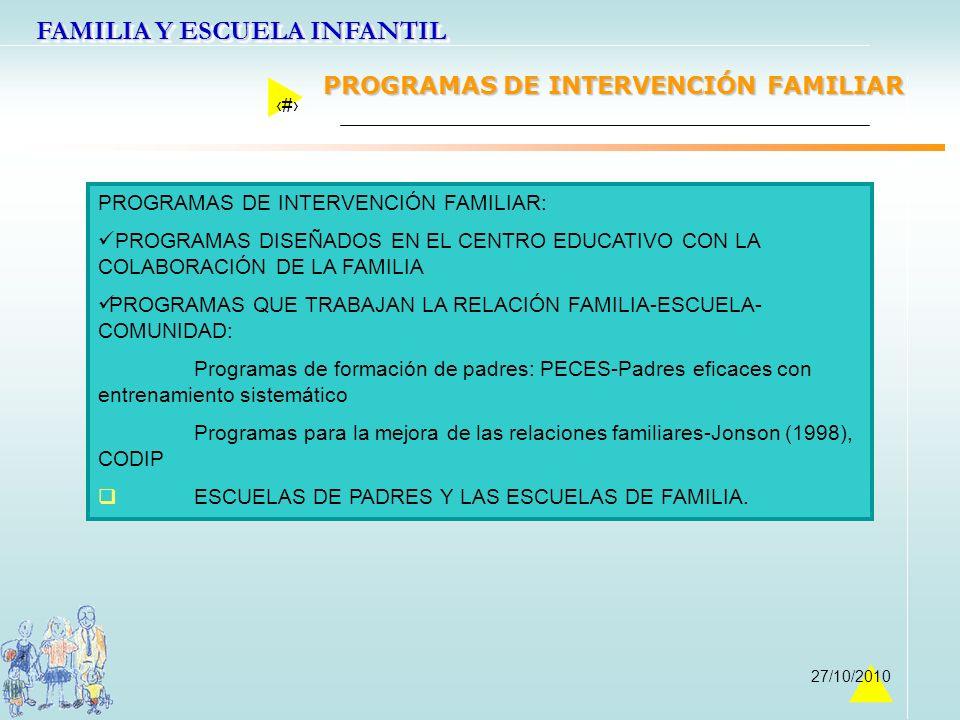 FAMILIA Y ESCUELA INFANTIL 42 27/10/2010 PROGRAMAS DE INTERVENCIÓN FAMILIAR: PROGRAMAS DISEÑADOS EN EL CENTRO EDUCATIVO CON LA COLABORACIÓN DE LA FAMI