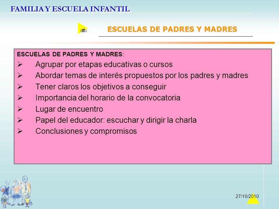 FAMILIA Y ESCUELA INFANTIL 43 27/10/2010 ESCUELAS DE PADRES Y MADRES ESCUELAS DE PADRES Y MADRES: Agrupar por etapas educativas o cursos Abordar temas