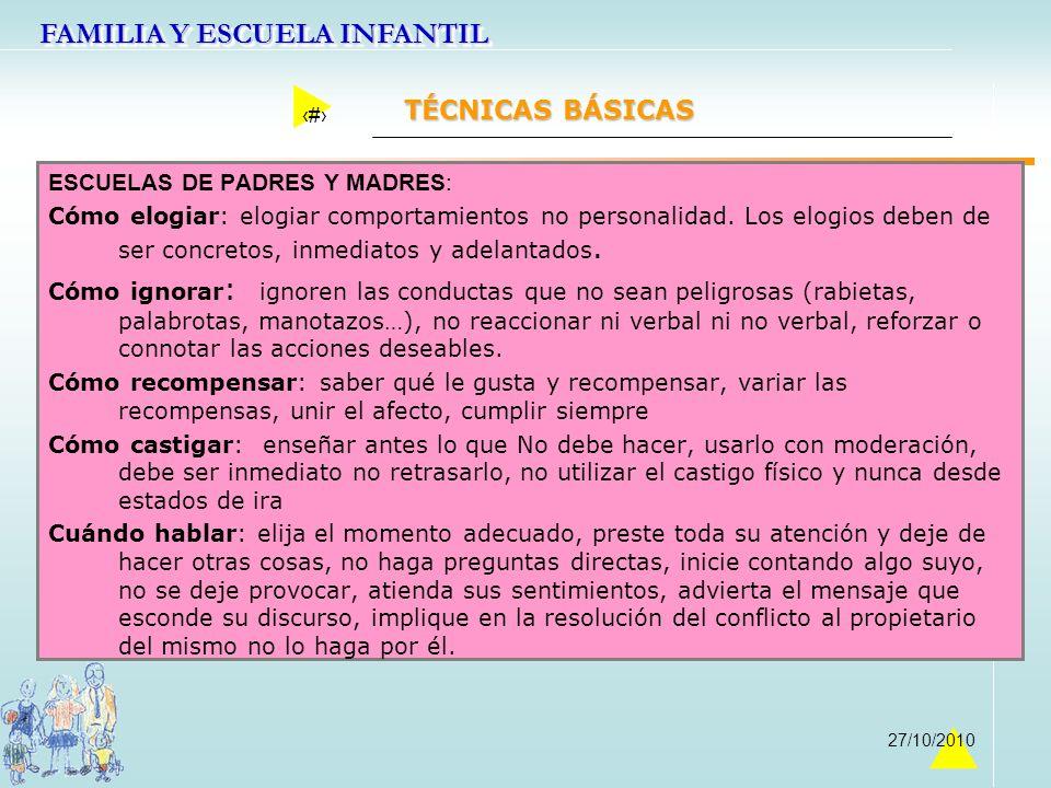 FAMILIA Y ESCUELA INFANTIL 44 27/10/2010 TÉCNICAS BÁSICAS ESCUELAS DE PADRES Y MADRES: Cómo elogiar: elogiar comportamientos no personalidad. Los elog