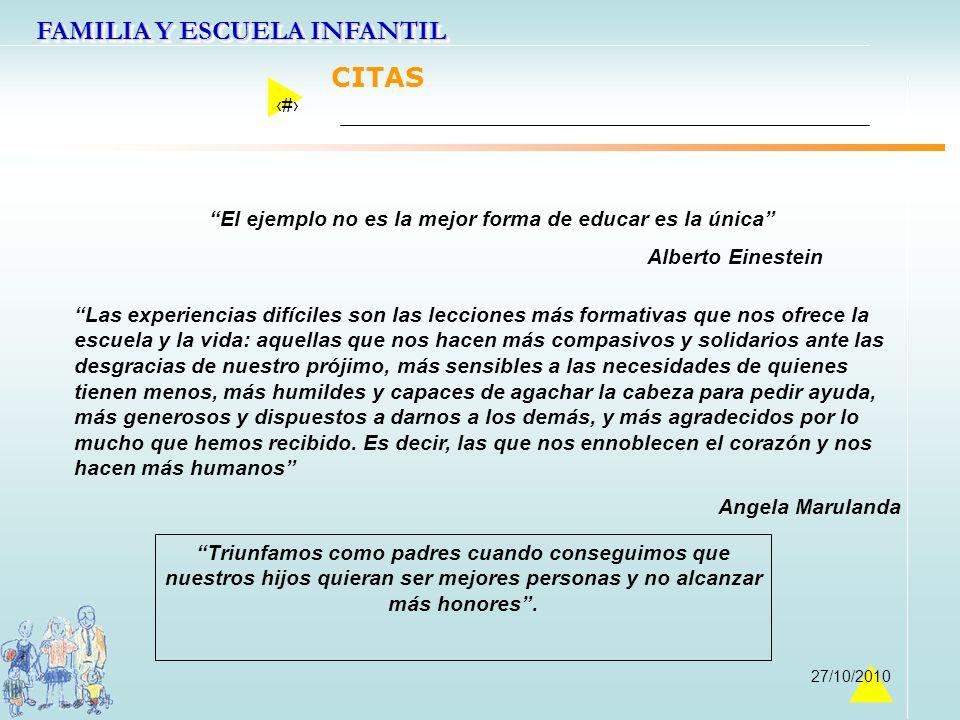 FAMILIA Y ESCUELA INFANTIL 45 27/10/2010 El ejemplo no es la mejor forma de educar es la única Alberto Einestein Las experiencias difíciles son las le