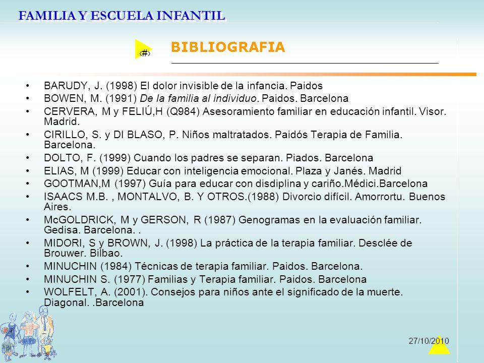 FAMILIA Y ESCUELA INFANTIL 46 27/10/2010 BIBLIOGRAFIA BARUDY, J. (1998) El dolor invisible de la infancia. Paidos BOWEN, M. (1991) De la familia al in
